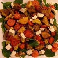 Roast Vegetable Salad with Pesto & Goat's Feta Cheese