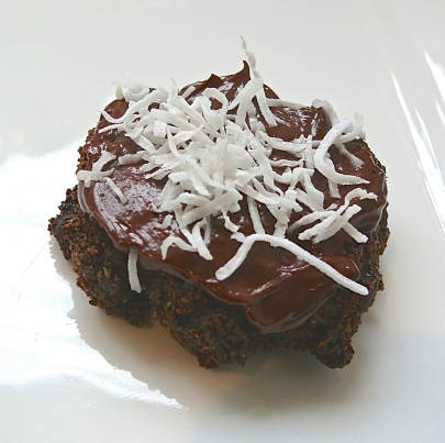 Chocolate Coconut Cookies with Bitter Chocolate Ganache