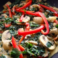 Spinach with Mushrooms and Red Peppers