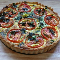 Leek & Tomato Quiche with Oregano Pastry