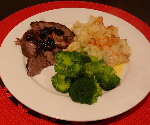 Lamb with brocolli and cauliflower cheese