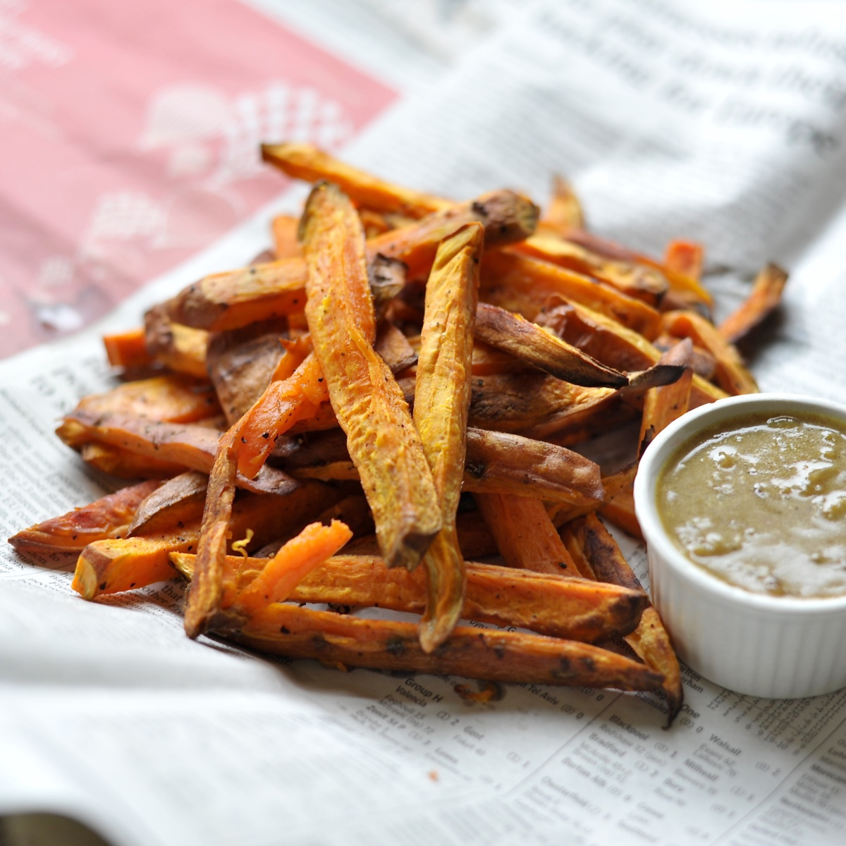 """... Baked Sweet Potato Fries, """"Chip Shop"""" Curry Sauce 
