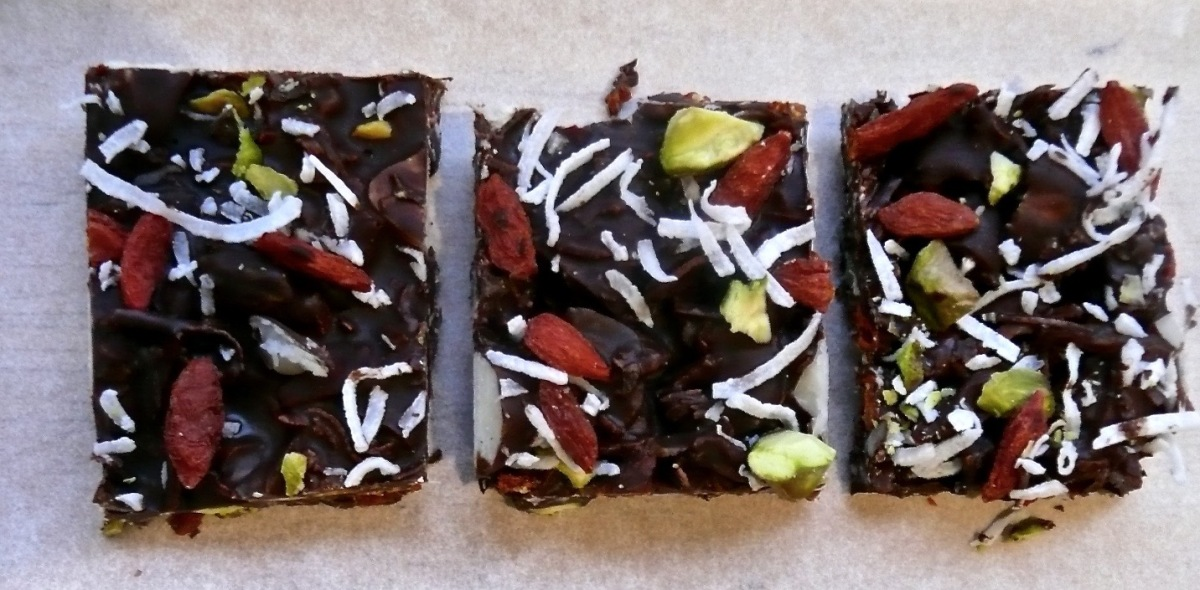 Healthy Chocolate Bliss Bars - paleo friendly treats.